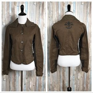 Free People XS Olive Army Military Utility Jacket